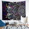 Hand Made Tailor Polyester Tapestry with Printed Bohemian Mandala Pattern