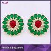 Golden Emerald Zirconia Earrings Stud Back Earring