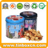 Embossed Round Metal Food Can Storage Nuts Tin Box