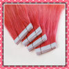 Pink Color Virgin Remy Human Hair Tape Hair Silky 16inch