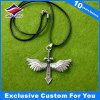Antique Silver Metal Wing Shape Sword Dog Tag with Leather Chain