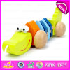 Handmade Wooden Animal Crocodile Pull Toy, Wooden Baby Push and Pull Crocodile Toy W05b105