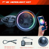 Latest APP Bluetooth Controlled 7inch Round LED Headlights H4 Jeep DOT/SAE Certificate Headlamps with Chasing Halo