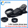 Mobile Phone Camera Lens 3 in 1 Lens Zoom Lens for Mobile Phone with Fisheye Lens+Wide Angle Lens+Macro Lens