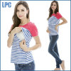 Fashion Contrast Color Striped Women Maternity T-Shirt