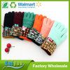 Multicolor Jacquard Plush Lining Butterfly Knot Women Warm Gloves