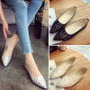Spring Autumn Leather Shoes Bowknot Female Flats Work Soft Single Casual Shoes Woman Comfort Loafers