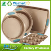 4-Piece Bakeware Set, Latte Brown with Agave Blue Handle Grips
