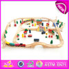 Hot New Product for 2015 Wooden Train Set and Railway Toy, Kids Wooden Railway Toy, Wooden Toy Railway Toy (WITH 100PCS) W04c013