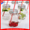 Wholesale Square Glass Mason Jar Cup with Lid