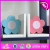 2015 Brand New Wooden Flower Bookend, Hot Sale Wood Flower Bookend, Lovely Bookend Flower Wooden W08d052b