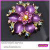 Purple Enamel Color Rhinestones Blooming 3D Flower Brooch 5705