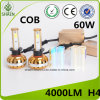 Newest COB LED Auto Headlight High Power 60W 4000lm H4