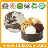 Wedding Packaging Round Metal Gift Tin Box for Biscuits Cookies