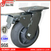 "6""X2"" Total Brake Caster with Gray TPR Rubber Wheel"