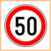 Aluminium 50 Speed Limit Sign, Reflective Traffic Sign