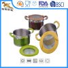 Customized Color Stainless Steel Saucepans with Glass Lid (GES-1624)