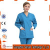 65%Cotton and 35%Polyester V-Neck Hospital Staff Scrubs Uniforms with Short-Sleeve