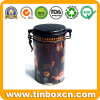 Round Tin Coffee Can with Airtight Lid, Coffee Tin Box