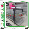 Supermarket Metal Gondola Shelvings for Cosmetics with Top LED Lamp