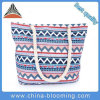 Women Casual Geometric Plaid Print Twist String Canvas Shoulder Bag