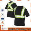 Black High-Visibility Safety Warning Reflective T-Shirt of Cotton and Polyester
