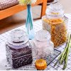 Home Kitchenware Square Clear Food Storage Glass Canister