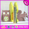 2015 New Wooden Squirrel and Owl Bookend, Hot Sale Wood Squirrel and Owl Bookend, Lovely Bookend Squirrel and Owl Wooden W08d051