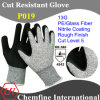 13G PE/Glass Fiber Knitted Glove with Nitrile Rough Coated Palm/ En388: 4543