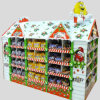 Multi-Faced Cardboard Display for Christmas Snack Foods, Point of Sale Corrugated Paper Floor Display China Manufacturer