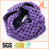 100% Acrylic Purple Hollow Knitted Neck Scarf with Georgette