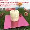 4mm Pink Straight Edge Glass Mirror Candle Holder