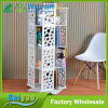 White Multilayer 360 Rotate Wooden Book Shelf Rack