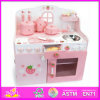 2014 New Wooden Kitchen Set Toy for Kids, Lovely Pink Wooden Kitchen Set for Children, Hot Sale Role Play Toy Kitchen Set W10c079