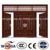 4 Doorleaf Outside Brown Color Security Metal Steel Door (W-SD-06)