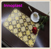 PVC Lace Placemat / Crochet Doilies with Gold Coated (JFCD-096)