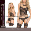 Sexy Women Black Mesh Nightwear with Garter Underwear (T4300)