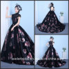 Printing Flora Prom Ball Gown Black Pink Lace Party Evening Dresses Z1016