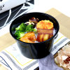 Round Black Biodegradable Plastic Food Container Take Away Service Bowl Fruit Box with Transparent Lid