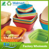 Colorful Square Salad or Fruit Bamboo Fiber Bowl with Different Size