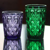Colorful 3D Embossed Carved Flowers Glass Cup Whiskey Glass