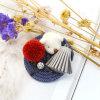 Silver-Tone Crystal POM Poms Bear Tassel Custom Fashion Brooches