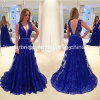 Blue Lace Party Formal Gowns V-Neckline Evening Dresses Z4004