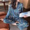 Womens Silk Satin Pajamas Pyjamas Set Long Sleeve Sleepwear Branded Pajamas Suit Female Sleep Plus Size Designer Nightwear
