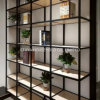 Modern Luxury Style Home Furniture Aluminum Frame Glass Shelf Rack with Wardrobe Cabinet