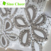 White Mixed Brown Marble Waterjet Mosaic Tiles for Wall Decoration
