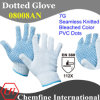 7g Bleached Polyester/Cotton Knitted Glove with Blue PVC Dots/ En388: 112X