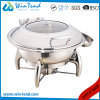 Stainless Steel Electrolytic Luxury Roll Top Glass Lid Round Chafing Dish for Sale with Fuel Holder