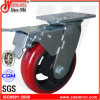 8X2 Korea Type Total Brake Rounded PU Swivel Casters