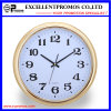 Gold Frame Logo Printing Round Plastic Wall Clock (Item23)
